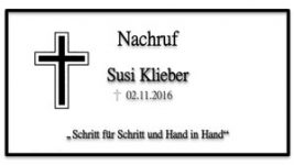 Nachruf Susi Klieber_Titel