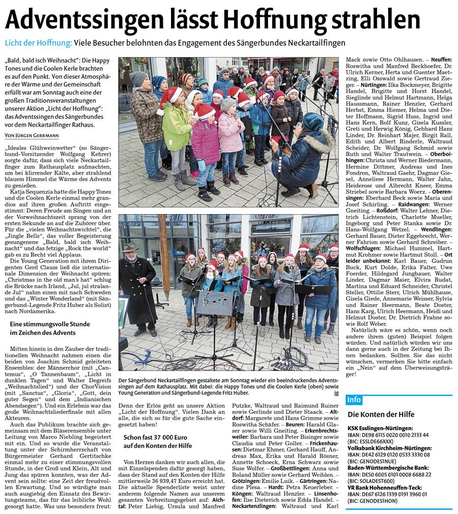Bericht der Nürtinger Zeitung vom 07.12.2016