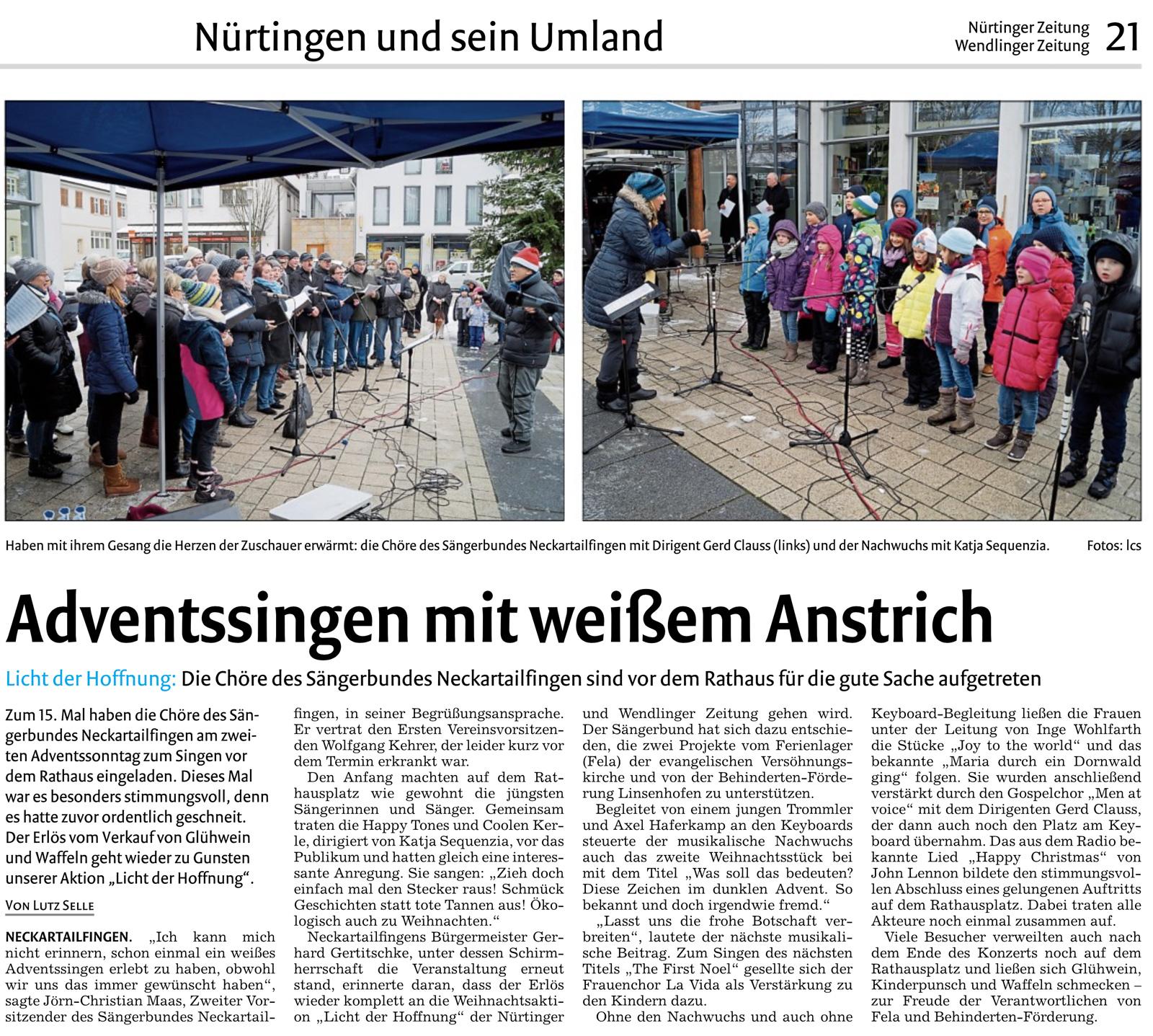Bericht der Nürtinger Zeitung vom 12.12.2017 - Lutz Selle